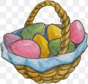 The Eggs In The Basket - Basket Easter Egg Watercolor Painting PNG