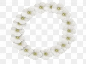 White Flower Frame Photo - White Flower Picture Frame Lei PNG