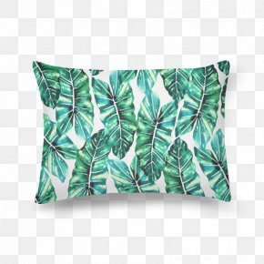 Watercolor Tropical Leaf - Throw Pillows Cushion Rectangle PNG
