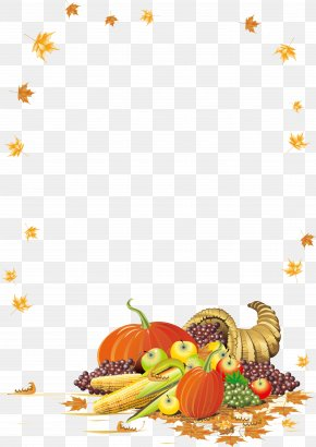 Creative Fruit And Vegetable Maple Leaf Frame Vector - Thanksgiving Cornucopia Clip Art PNG
