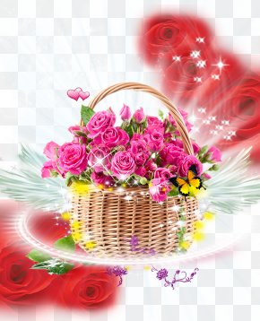 Flowers Background - Basket Rose Pink Flower Bouquet PNG