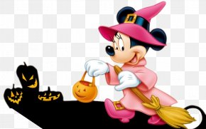 Halloween Pumpkin And Holding Broom Mickey Mouse - Mickey Mouse: Magic Wands! Minnie Mouse Donald Duck Halloween PNG