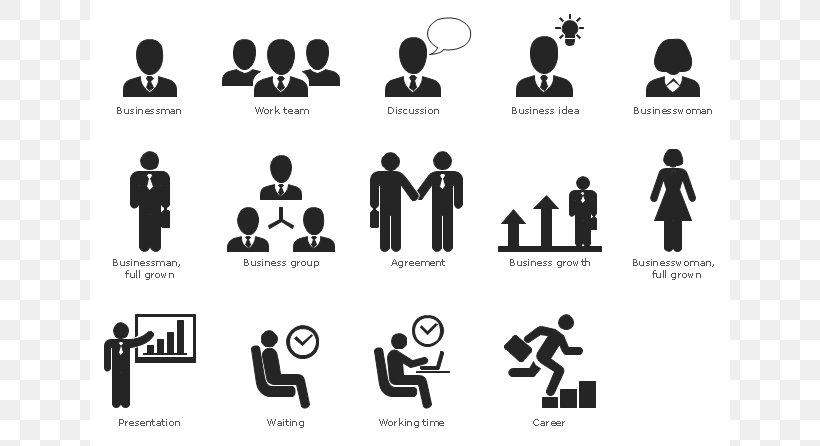 Infographic Pictogram Business Communication Clip Art, PNG, 640x446px, Infographic, Black And White, Brand, Business, Business Communication Download Free