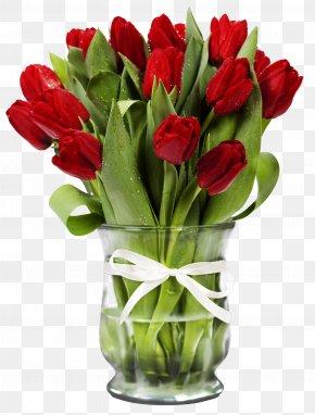 Transparent Vase With Red Tulips - Indira Gandhi Memorial Tulip Garden Flower Bouquet Floristry PNG