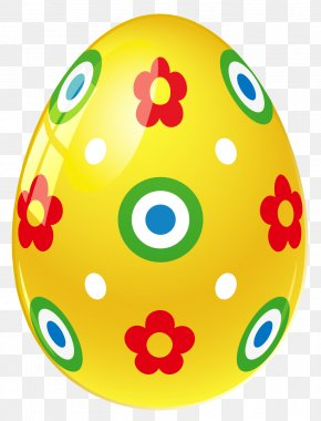Yellow Easter Egg With Flowers Picture - Easter Bunny Easter Egg Yellow Clip Art PNG