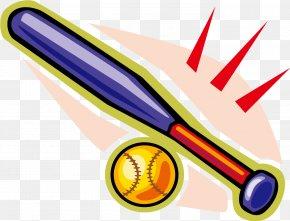 Vector Cartoon Baseball - Baseball Bat Batting Softball Clip Art PNG