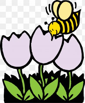April Flowers Cliparts - Bee Coloring Book Flower Nectar Clip Art PNG