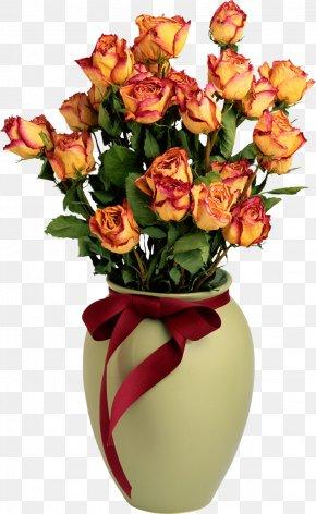 Vase With Orange Roses Picture - Rose Flower Delivery Vase Floristry PNG
