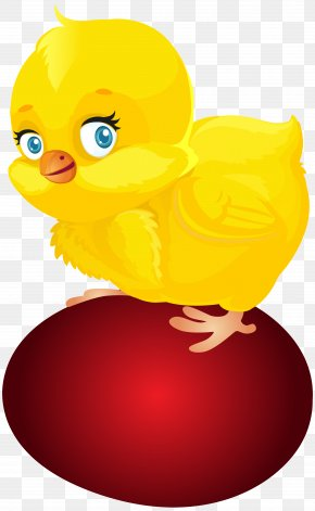 Red Easter Egg And Chicken Clip Art - Red Easter Egg Easter Bunny Chicken Duck Clip Art PNG