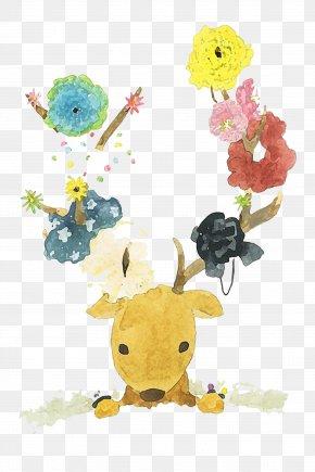 Watercolor Deer - Deer Watercolour Flowers Watercolor Painting PNG