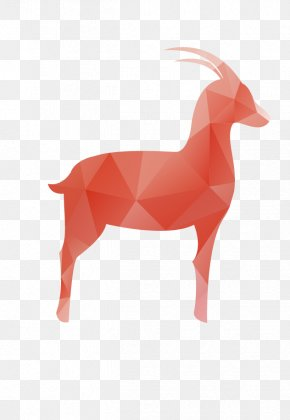 Vector Red Geometric Goat - Goat Sheep Download PNG