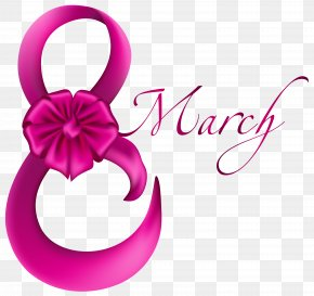March 8 Pink With Bow Clipart Image - March 8 Clip Art PNG