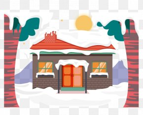 Vector Winter Snow Filled House Roof - Snow House Clip Art PNG