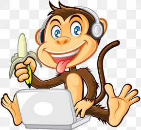 Cute Monkey - Monkey Cartoon Clip Art PNG