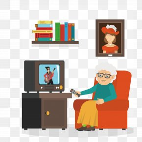 Watching TV Show Characters - Performance Television Illustration PNG