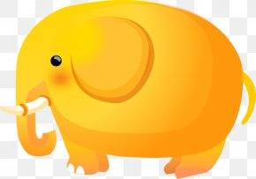 Elephant Gif - Vector Graphics Elephant Euclidean Vector Yellow Drawing PNG