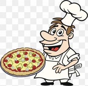 Chef With Pizza - Barbecue Cartoon Chef Cooking PNG
