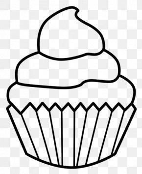 Cupcake Line Drawing - Cupcake Birthday Cake Muffin Drawing Clip Art PNG