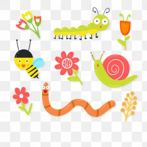 Vector Caterpillars - Insect Bee Earthworms Euclidean Vector PNG