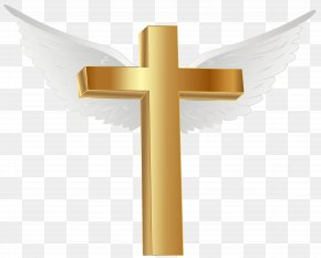 Gold Cross With Angel Wings Clip Art Image - Lihir Island Gold Cross Computer File PNG