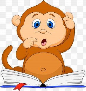 Reading Monkey Baby - Monkey Reading Stock Photography Clip Art PNG