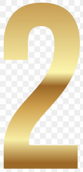 Golden Number Two Clipart Image - Yellow Angle Font PNG