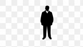 Man Standing - Black And White Brand Wallpaper PNG
