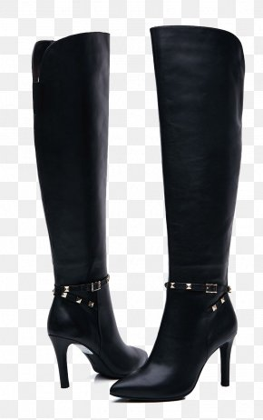 Black Leather Boots - Motorcycle Boot Riding Boot Knee-high Boot Ugg Boots PNG