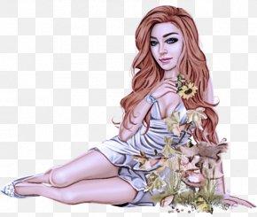 Plant Fashion Design - Fashion Illustration Cartoon Sitting Long Hair Drawing PNG