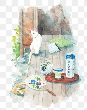 Cats And Breakfast - Breakfast Soy Milk Illustration PNG