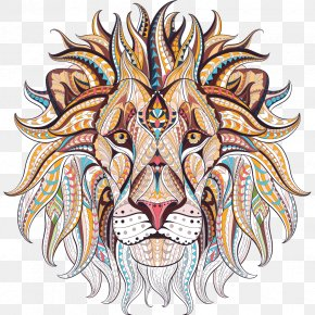 Lion - Lion Adult Coloring Book: Stress Relieving Patterns Adult Coloring Book: Stress Relieving Animal Designs PNG