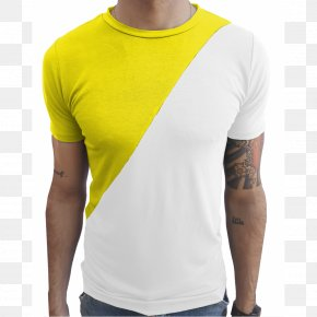 T-shirt - T-shirt Yellow Sleeve White PNG