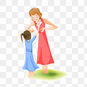Cartoon Characters Mother Child Material Free To Pull - Mother Woman Cartoon Illustration PNG