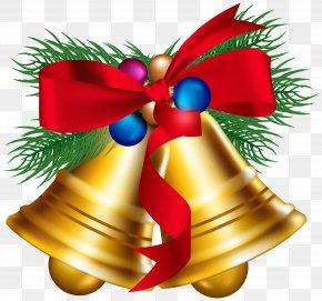 Christmas Bells With Christmas Ballls Clipart Image - Christmas Jingle Bell Clip Art PNG