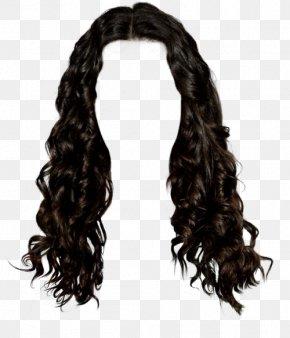 Western Style Long Hair Brunette Pull Graphic Material Free - Wig Black Hair Long Hair Brown Hair PNG