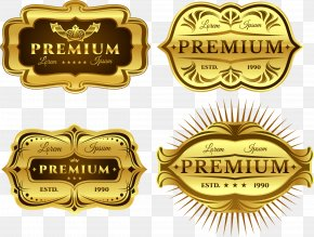 Vector Hand-painted Gold Label - Label Euclidean Vector Gold Diagram PNG