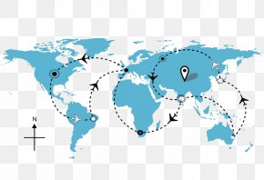 Map Of World Map Flight - Earth Airplane Flight Round-the-world Ticket Travel PNG