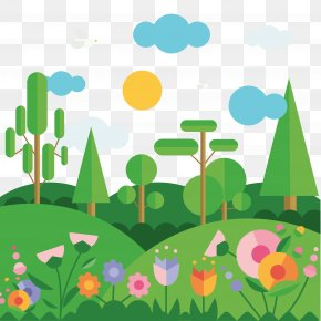 Flat Spring Mountain Landscape Vector Material - Flat Design PNG