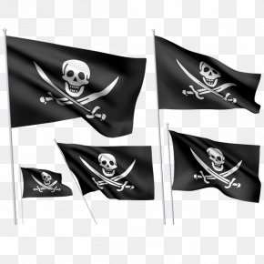 Cranial Skeleton Head Banner - Jolly Roger Piracy Flag Skull And Crossbones PNG