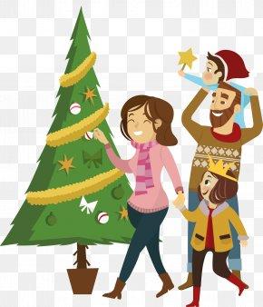 Vector Christmas Family - Christmas Tree Family Euclidean Vector PNG