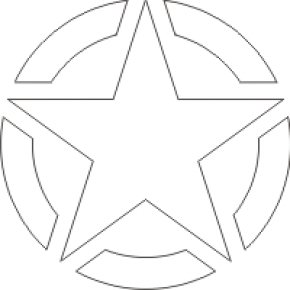 Military Stars Cliparts - Line Angle Point Black And White Area PNG