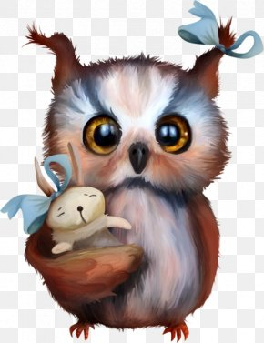 Watercolor Owl - Ded Moroz New Year Holiday Greeting Card Joy PNG