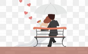 Cartoon Bride And Groom Vector - Romance Wedding Couple Love PNG