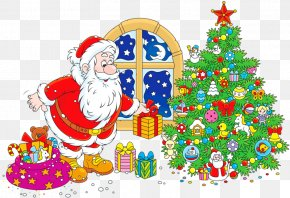 Santa Claus - Santa Claus Christmas Tree Gift Clip Art PNG