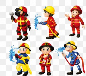 Hand Painted Firefighters Dressed Differently - Firefighter Royalty-free Clip Art PNG
