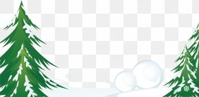 Creative Green Pine Winter Snow - House Winter Cartoon Illustration PNG