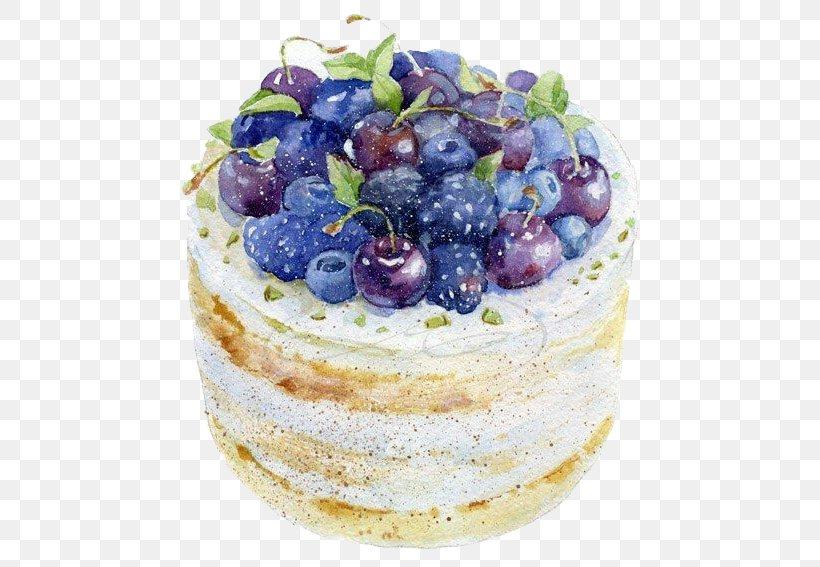 Frutti Di Bosco Watercolor Painting Drawing Cake Illustration, PNG, 488x567px, Frutti Di Bosco, Blueberry, Buttercream, Cake, Cheesecake Download Free