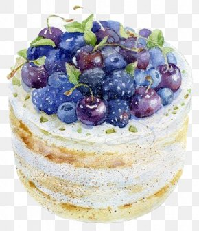 Blueberry Cake - Frutti Di Bosco Watercolor Painting Drawing Cake Illustration PNG