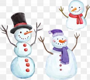 Painted Christmas Snowman - Snowman Watercolor Painting Christmas PNG