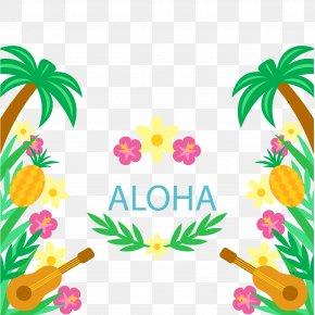 Ukulele And Floral Background - Hawaiian Tahiti Ukulele Luau PNG